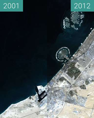 Before-and-after picture of Künstliche Inseln vor Dubai between 2001 and 2012