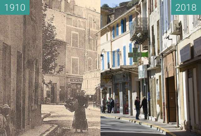 Before-and-after picture of Saint chamas rue de la liberté between 1910 and 2018