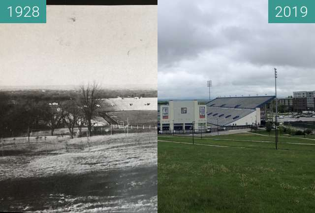 Before-and-after picture of Memorial Stadium University of Kansas between 1928 and 2019-May-07