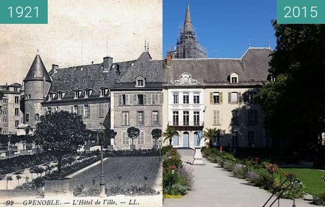 Before-and-after picture of Grenoble | Hôtel de Ville (1921) between 1921-Sep-28 and 2015