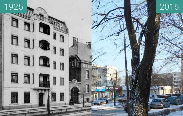 Before-and-after picture of Hohenzollernstrasse (Aleja Wolności) between 1925 and 2016
