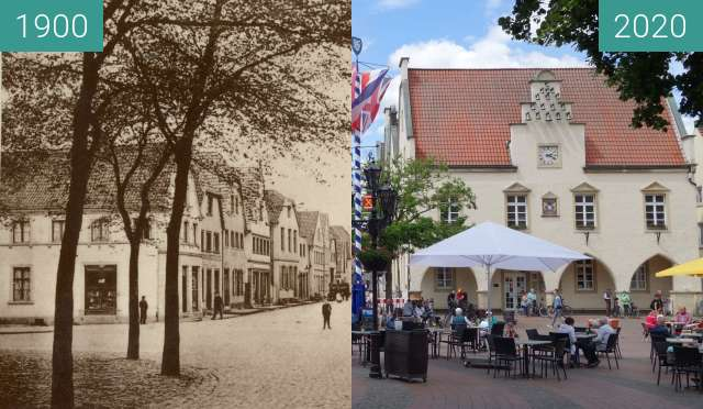 Before-and-after picture of Haltern market square (around 1910) between 1910 and 05/2020