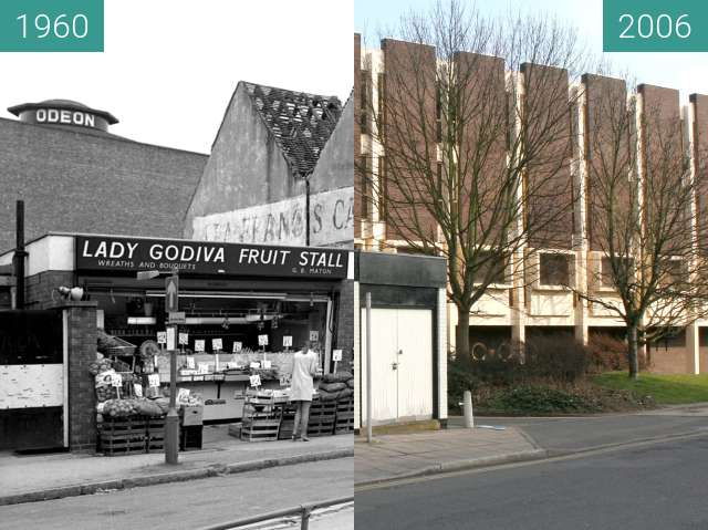 Before-and-after picture of Godiva fruit stall between 1960 and 2006