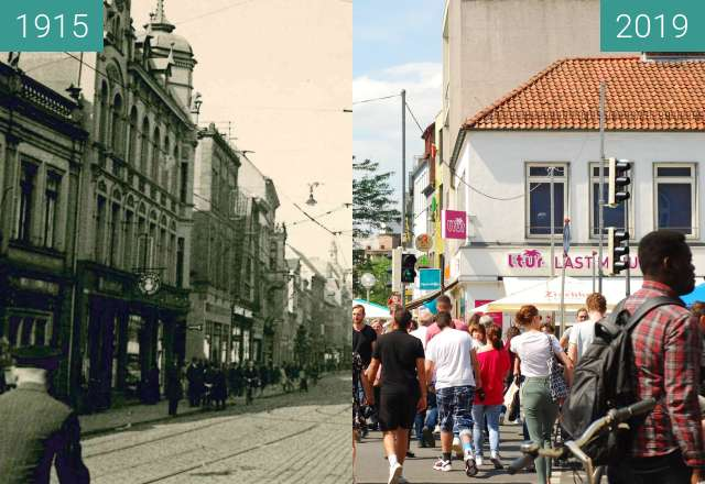 Before-and-after picture of Neumarkt between 1915 and 2019-Jun-22
