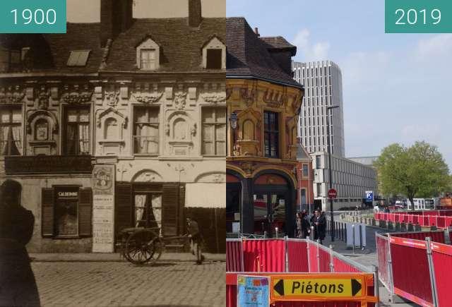 Before-and-after picture of Maison de Gilles de la Boë between 1900 and 2019-Apr-06