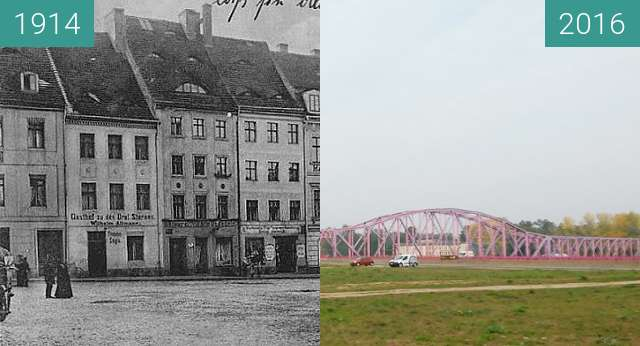 Before-and-after picture of Franziskanerplatz between 1914 and 2016