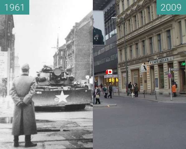 Before-and-after picture of Checkpoint Charlie 1961/ 2009 between 1961 and 2009