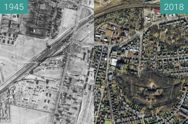 Before-and-after picture of Świerczewo between 1945 and 2018