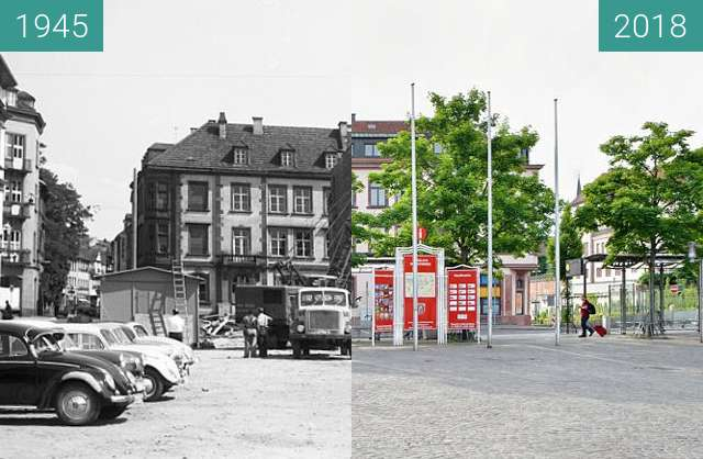 Before-and-after picture of Aschaffenburg - Marktplatz between 1945 and 2018