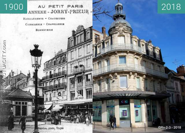 Before-and-after picture of TROYES - Rue Urbain IV between 1900 and 2018-Feb-13