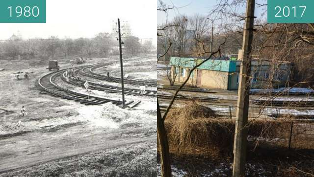 Before-and-after picture of Pętla tramwajowa Piątkowska between 1980 and 2017