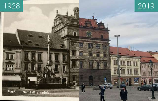 Before-and-after picture of Plzeň - Náměstí s radnicí between 1928 and 2019-Mar-07