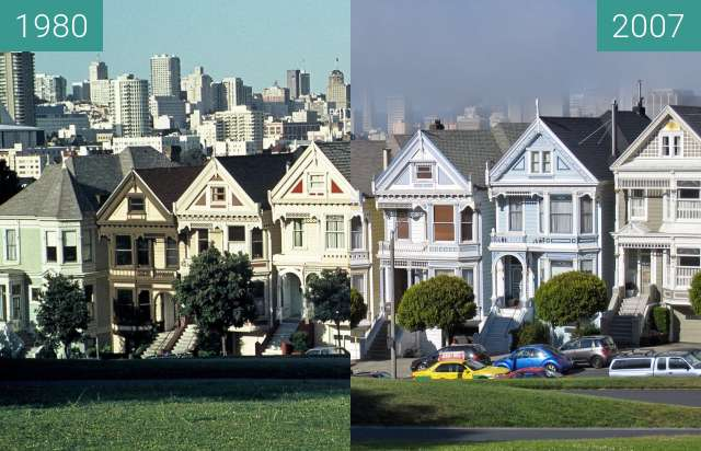Before-and-after picture of Alamo Square between 1980-Sep-01 and 2007-Jun-29