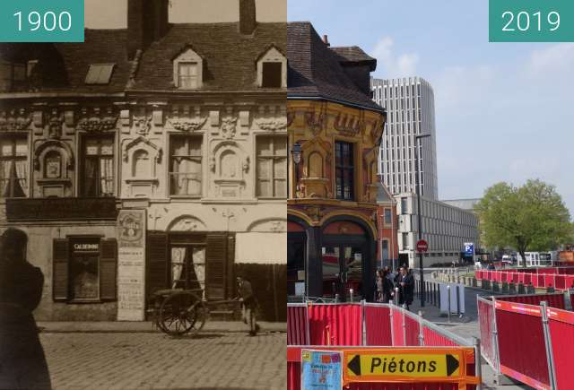 Before-and-after picture of Maison de Gilles de la Boë between 1900 and 2019-Apr-06