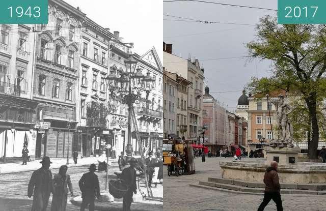 Vorher-Nachher-Bild von Marktplatz mit Neptunstatue zwischen 1943 und 20.04.2017