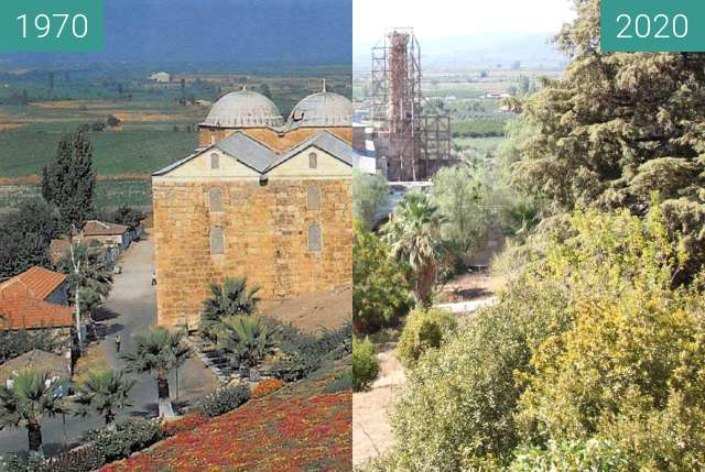 Before-and-after picture of Isabey Mosque between 1970 and 2020-Oct-10