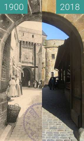 Before-and-after picture of Mont-Saint-Michel: Porte du Roy between 1900 and 2018-May-21