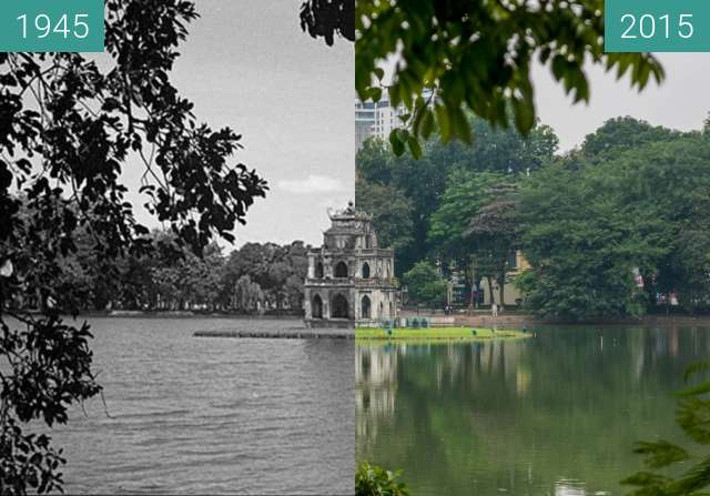 Before-and-after picture of Tháp Rùa (Turtle Tower) between 1945 and 2015-Dec-11