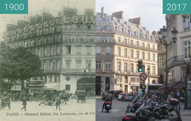 Before-and-after picture of Hôtel du Louvre between 1900 and 2017-Apr-29
