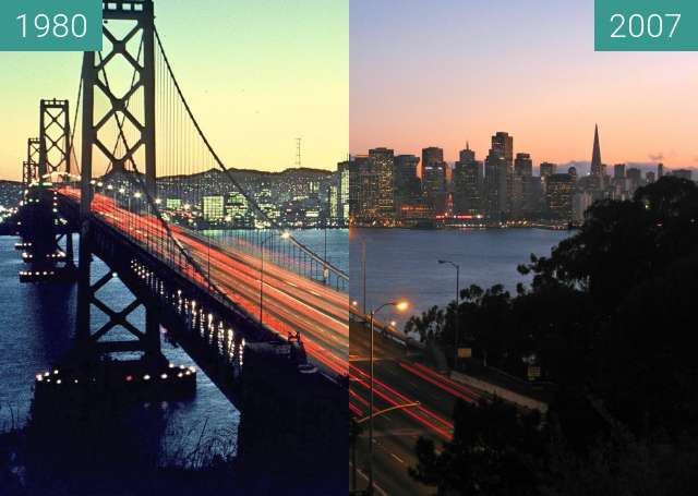 Before-and-after picture of Bay Bridge between 1980-Sep-01 and 2007-Jul-02