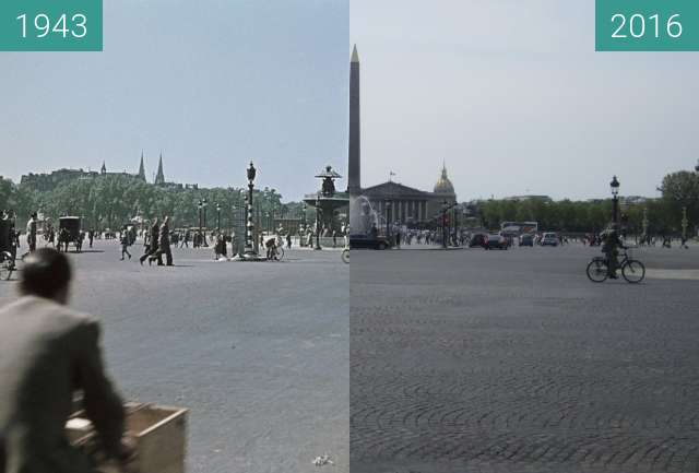 Before-and-after picture of Place de la Concorde (Besetzung von Paris) between 1943 and 2016-May-08