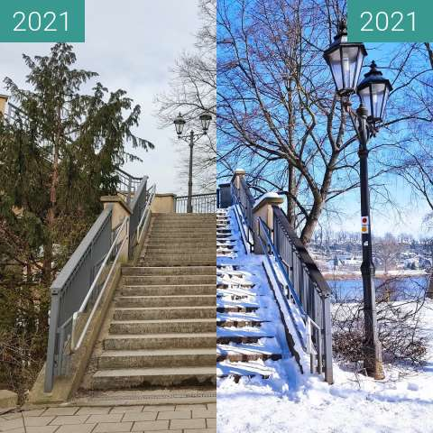 Before-and-after picture of Brückenaufgang zur Pirnaer Elbbrücke between 2021-Feb-15 and 2021-Mar-03