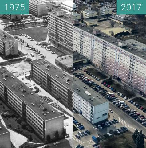 Before-and-after picture of Osiedle Piastowskie between 1975 and 2017
