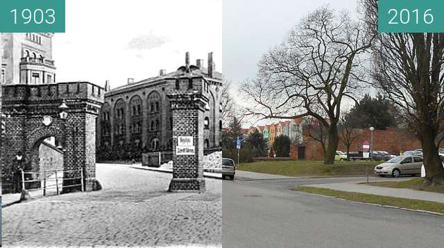 Before-and-after picture of Bahnhofsthor between 1903 and 2016