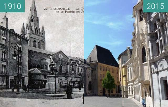Before-and-after picture of Grenoble | Place Saint André (1910) between 1910 and 2015