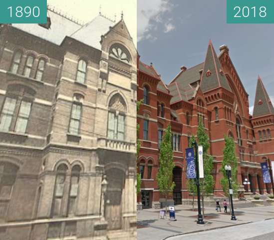 Before-and-after picture of Cincinnati Music Hall between 1890 and 2018