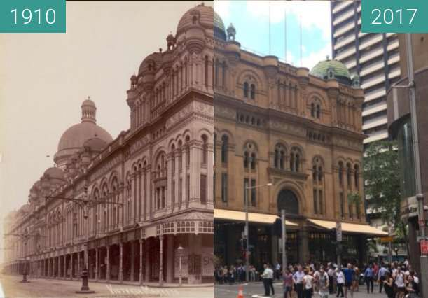 Before-and-after picture of Queen Victoria Building between 1910 and 2017-Dec-07