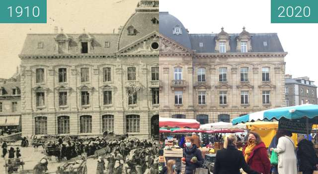 Before-and-after picture of Saint-Brieuc - Hôtel des Postes between 1910 and 2020-Nov-07