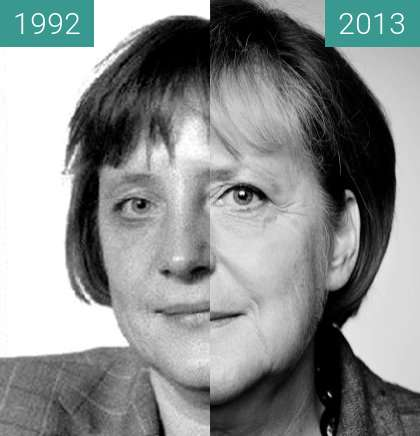 Before-and-after picture of Angela Merkel between 1992 and 2013