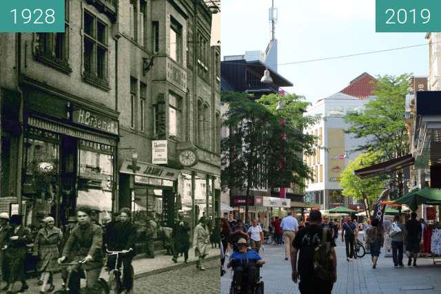Before-and-after picture of Große Straße Osnabrück between 1928 and 2019-Jun-26