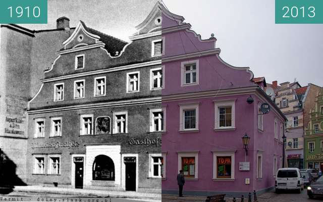 Before-and-after picture of Kamienica Pod Wilkiem between 1910 and 2013