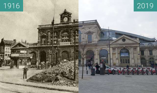 Before-and-after picture of Gare de Lille-Flandres (WW1) between 1916 and 2019-Apr-06