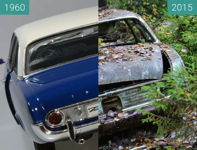 Vorher-Nachher-Bild von Verfall... Hier verrottet ein Ford Taunus 17 M zwischen 1960 und 2015