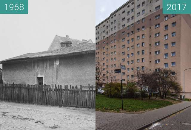 Before-and-after picture of Ulica Kosynierska przy Kuźniczej between 1968 and 2017