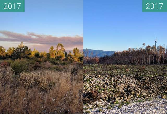 Before-and-after picture of Consequences of wildfires in Portugal between 2017-Aug-23 and 2017-Nov-19