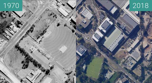 Before-and-after picture of North Ryde Drive-In between 1970 and 2018
