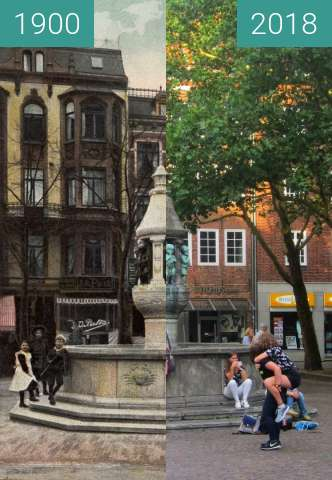 Before-and-after picture of Marcus-Brunnen between 1900 and 2018-Aug-18