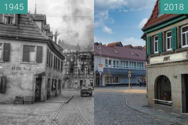 Before-and-after picture of Kronach between 1945-Apr-12 and 2018-Jun-19