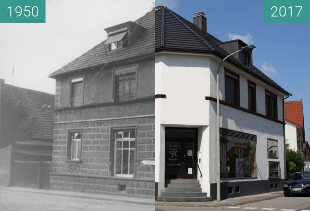 Before-and-after picture of Cany-Barville-Straße 24, 76744 Maximiliansau between 1950 and 2017-Sep-03