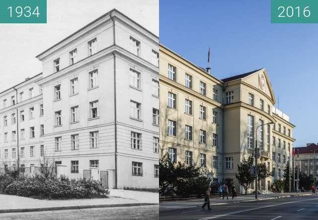 Before-and-after picture of Aleja Niepodległości, obecny Urząd Wojewódzki between 1934 and 2016