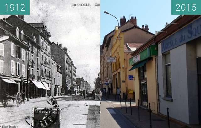 Before-and-after picture of Grenoble | Cours Berriat between 1912 and 2015