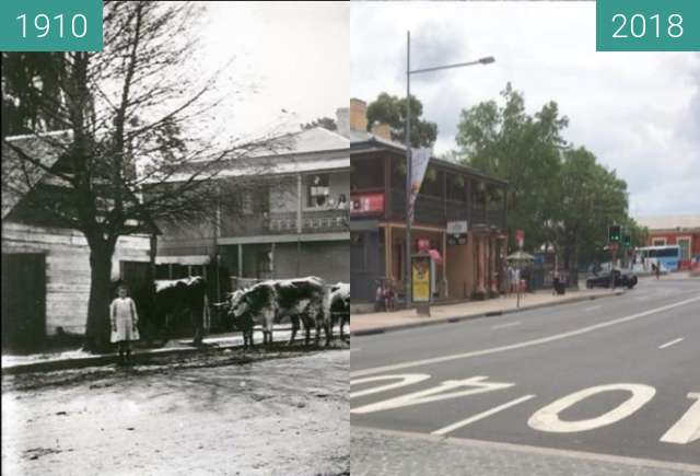 Before-and-after picture of Red Cow Hotel, Penrith between 1910 and 2018-Jan-28