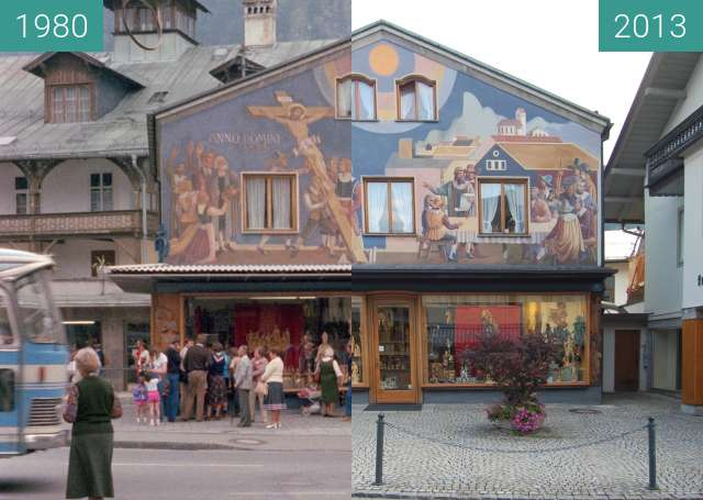 Before-and-after picture of Oberammergau between 1980-Jul-10 and 2013-Aug-31