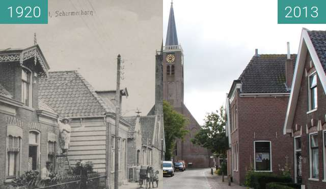Before-and-after picture of Westeinde in Schermerhorn between 1920 and 2013-Aug-06