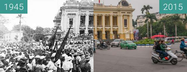 Before-and-after picture of Opera Hanoi between 1945-Aug-30 and 2015-Dec-11