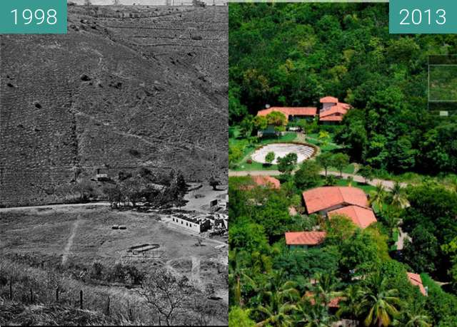 Before-and-after picture of Bulcão Farm between 1998 and 2013